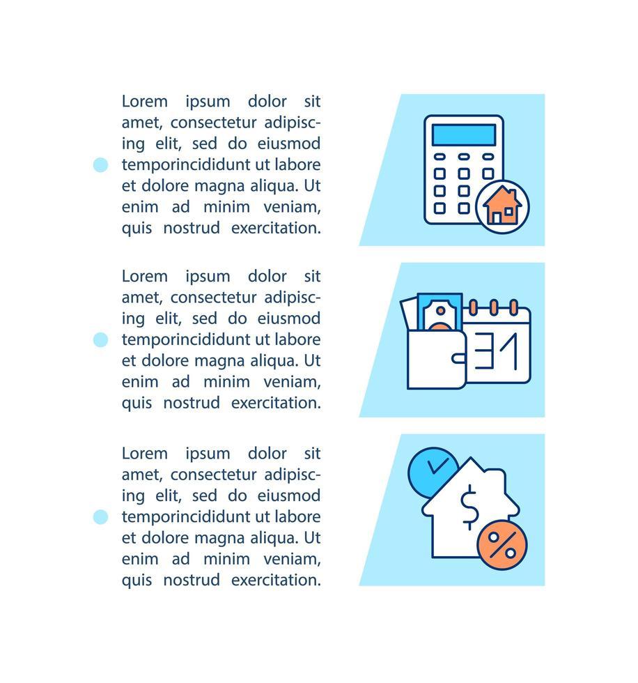 Hypothekenzahlungsoptionen-Konzeptsymbol mit Text vektor