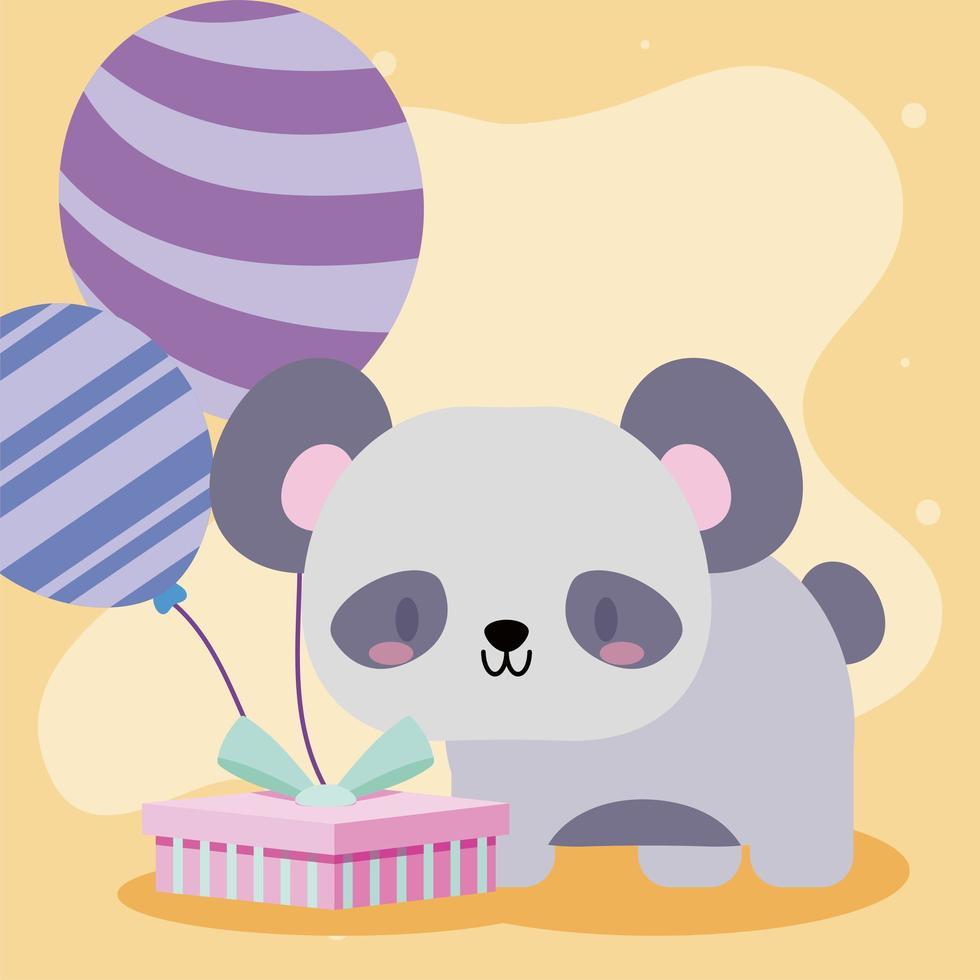 niedliche Geburtstagskarte mit kawaii Pandabär vektor