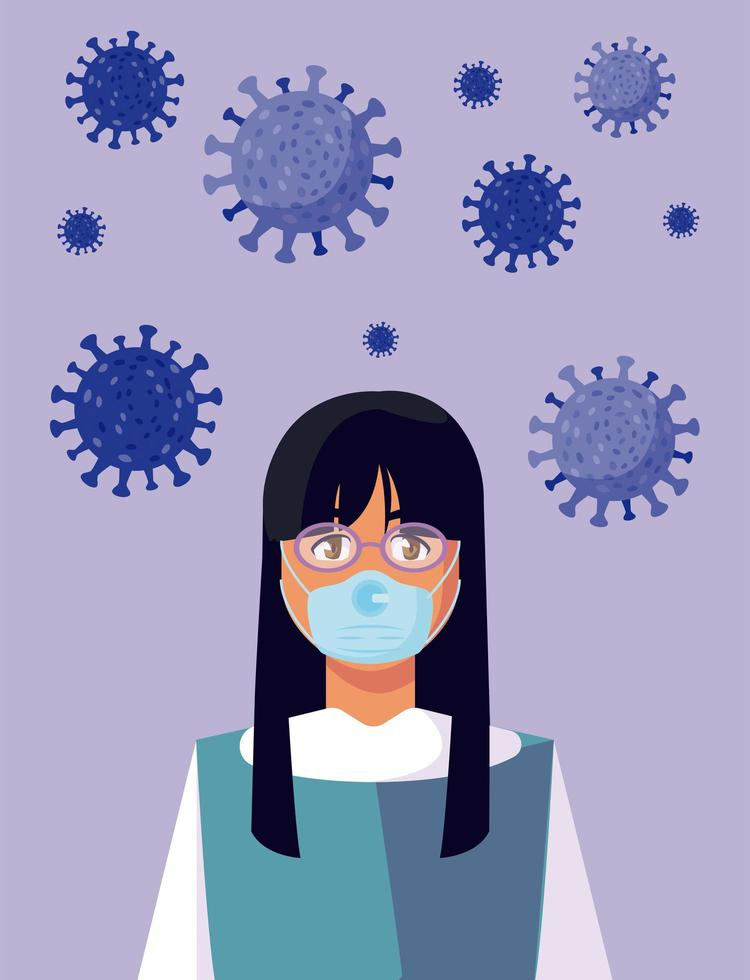 Frau mit medizinischer Maske und covid 19 Virusvektorentwurf vektor