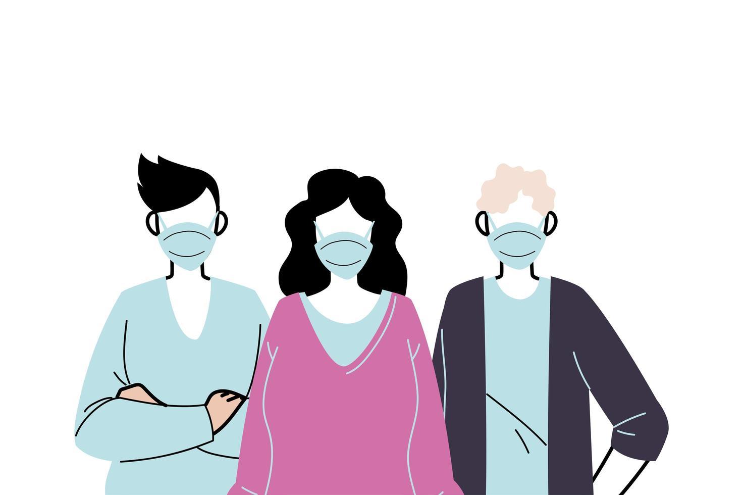 Jugendliche, die Gesichtsmasken tragen, um Viren vorzubeugen vektor