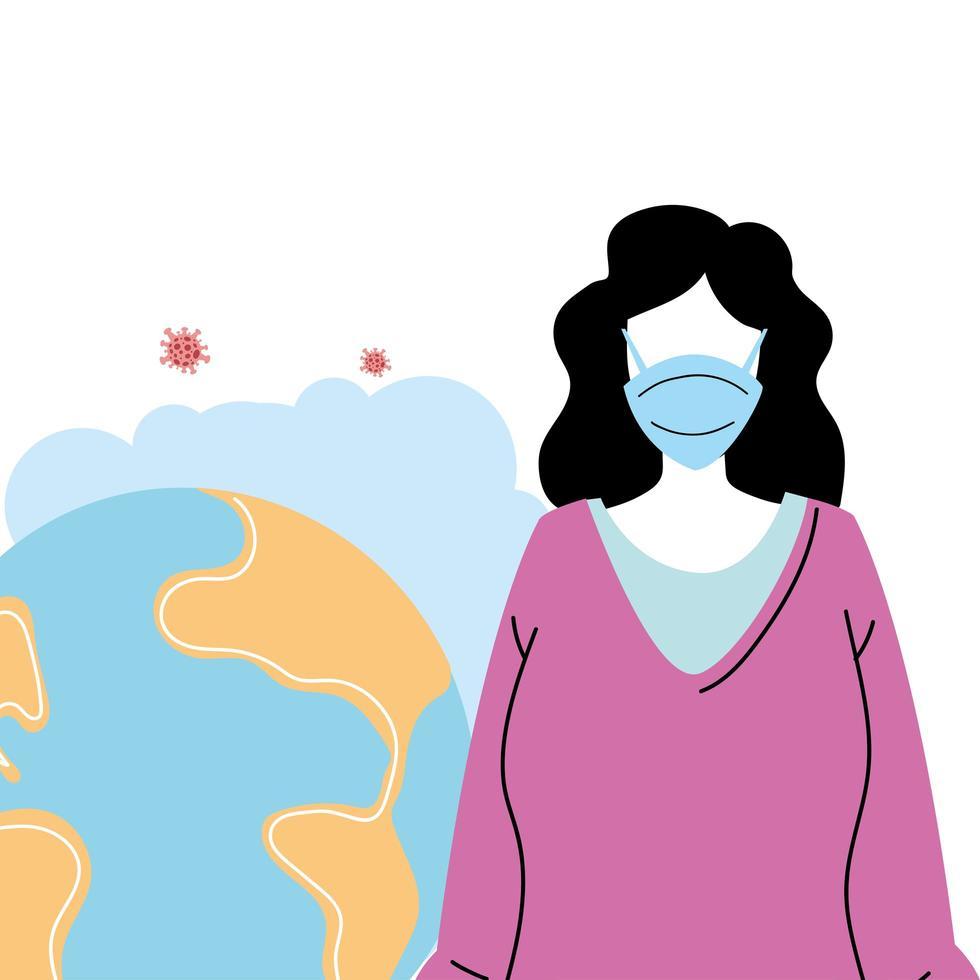 ung kvinna med mask för att förhindra pandemi vektor