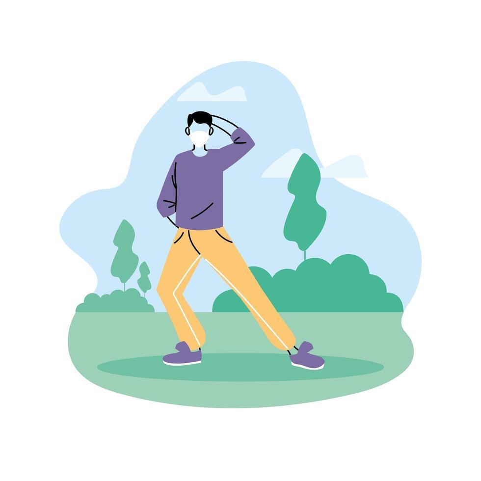 man gör yoga, hälsosam livsstil och fitnessövningar vektor