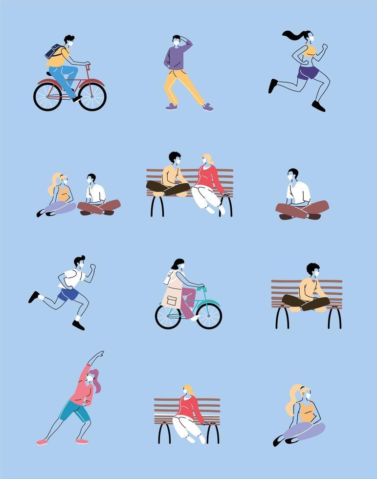 uppsättning ikoner med människor som gör sport vektor