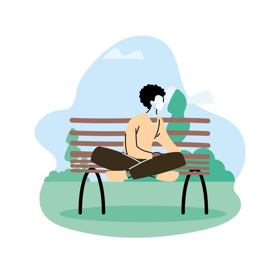 Mann sitzt im Park, soziale Distanzierung vektor