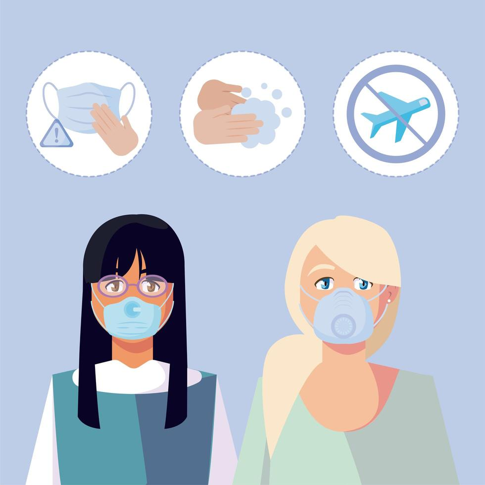 kvinnor med medicinska masker och covid 19 ikonuppsättning vektor design