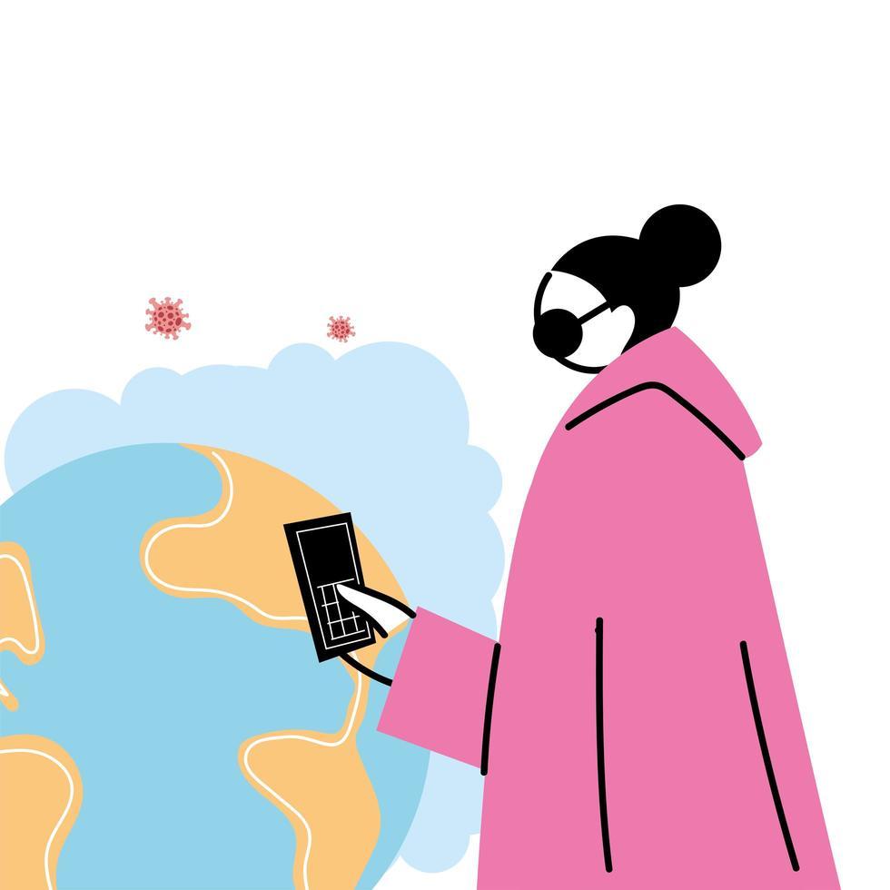 ung kvinna med en mask och smartphone under en global pandemi vektor