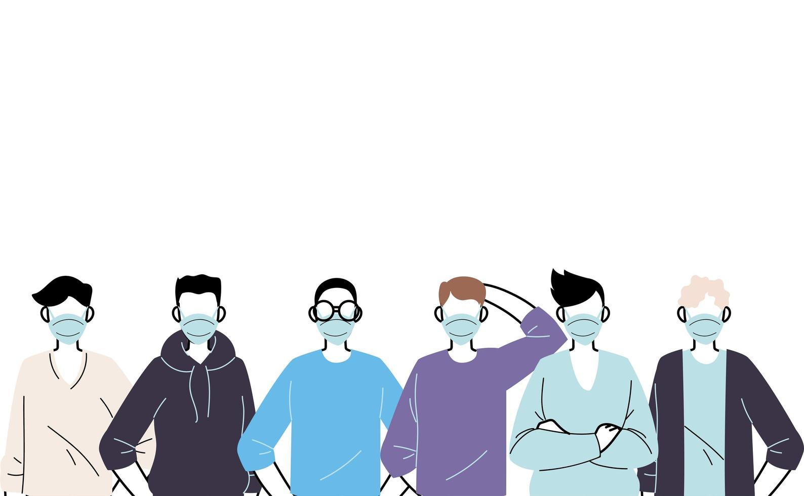 unga män som bär ansiktsmasker för att förhindra virus vektor