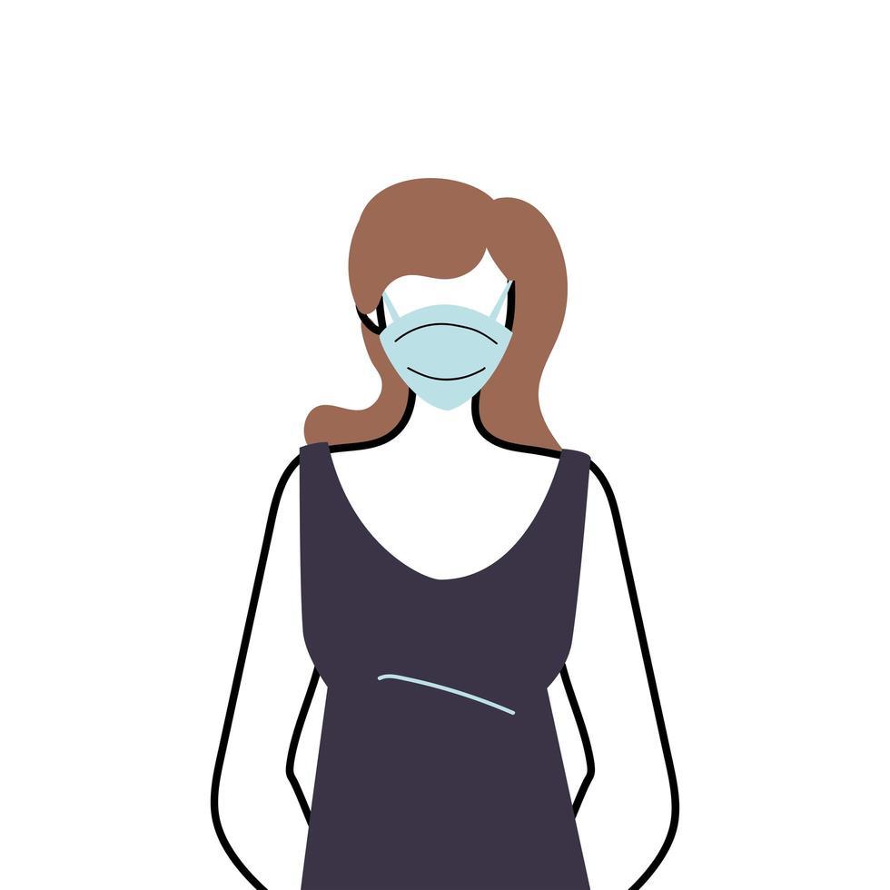 junge Frau, die Gesichtsmaske trägt, um Virus zu verhindern vektor