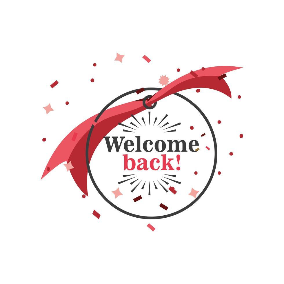 välkommen tillbaka banner med band och konfetti vektor