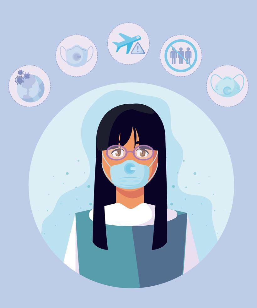 Frau mit medizinischer Maske und covid19-Symbol stellte Vektordesign ein vektor