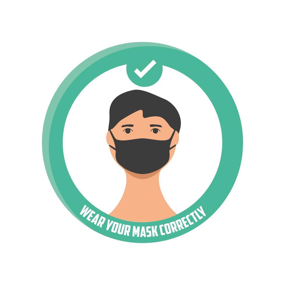 bära din mask korrekt, man som bär en medicinsk mask vektor