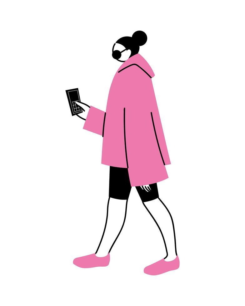 ung kvinna som använder en mobiltelefon vektor