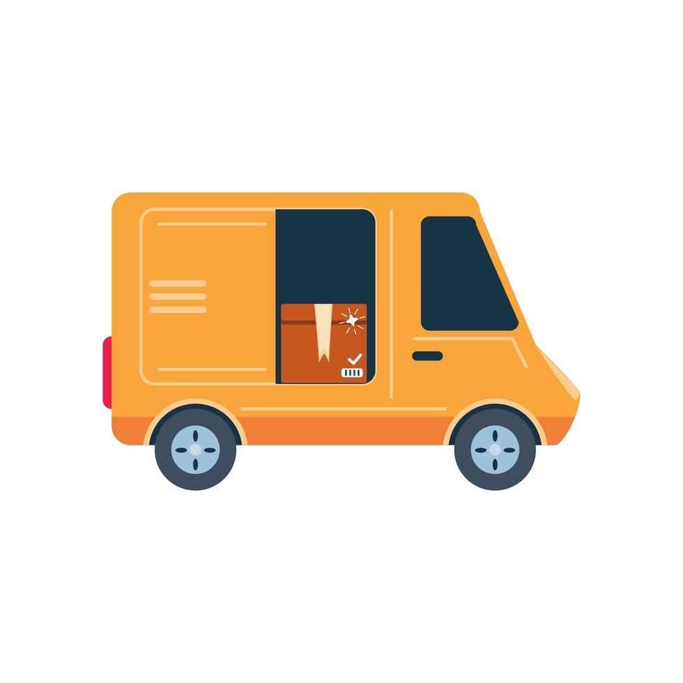 Van, Frachttransport auf weißem Hintergrund vektor