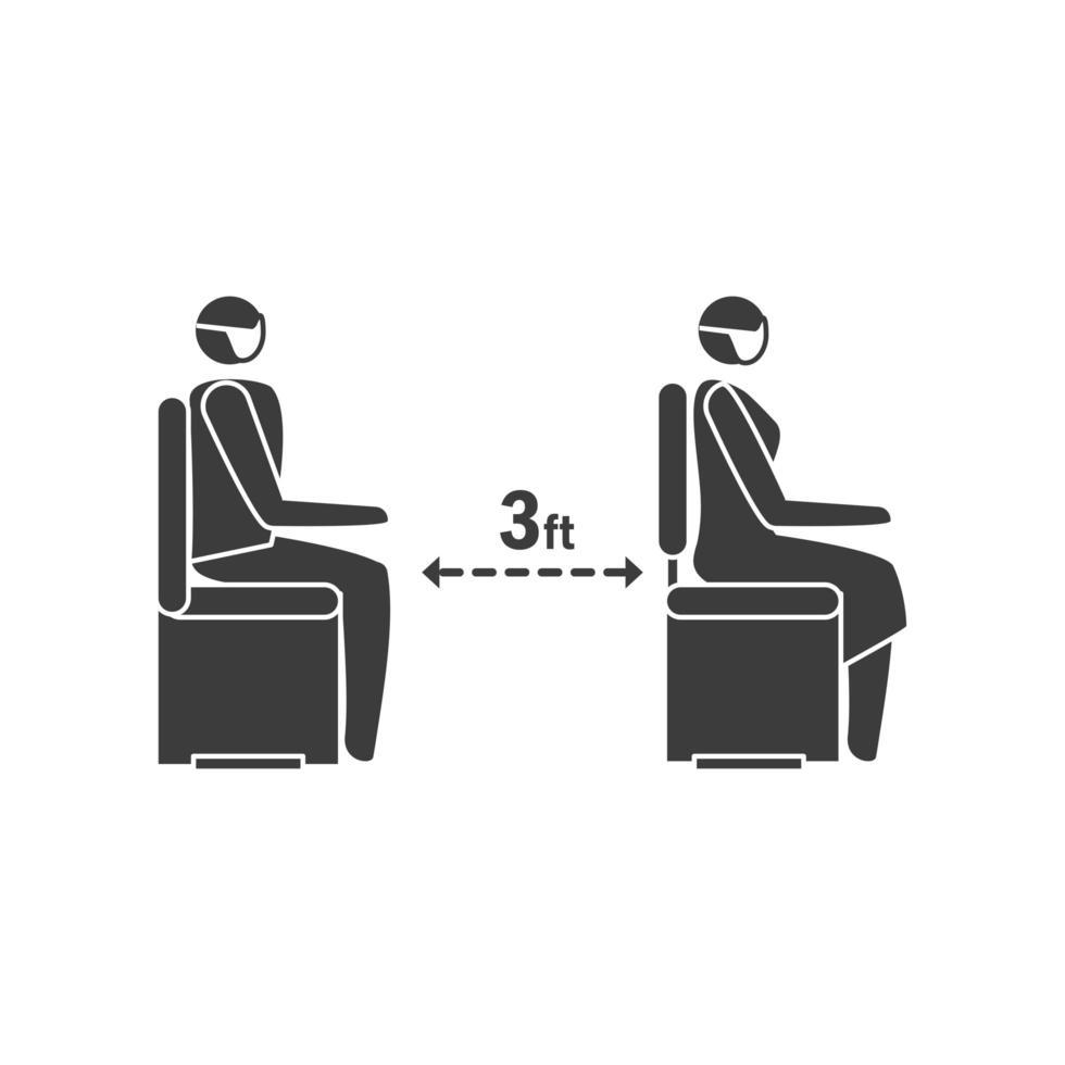 Halten Sie soziale Distanz, Infektionsrisiko durch Coronavirus oder Covid 19 vektor