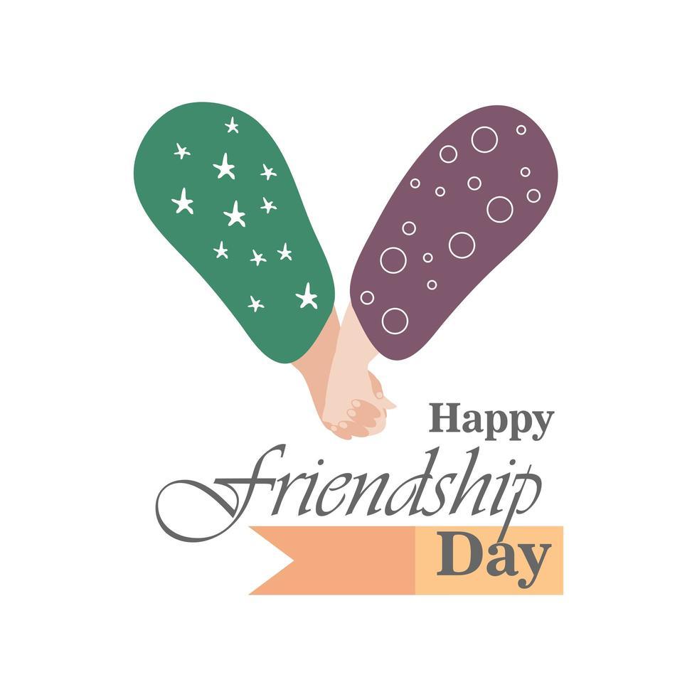 glücklicher Freundschaftstag mit Handshake detailliertem Stilikonenvektorentwurf vektor