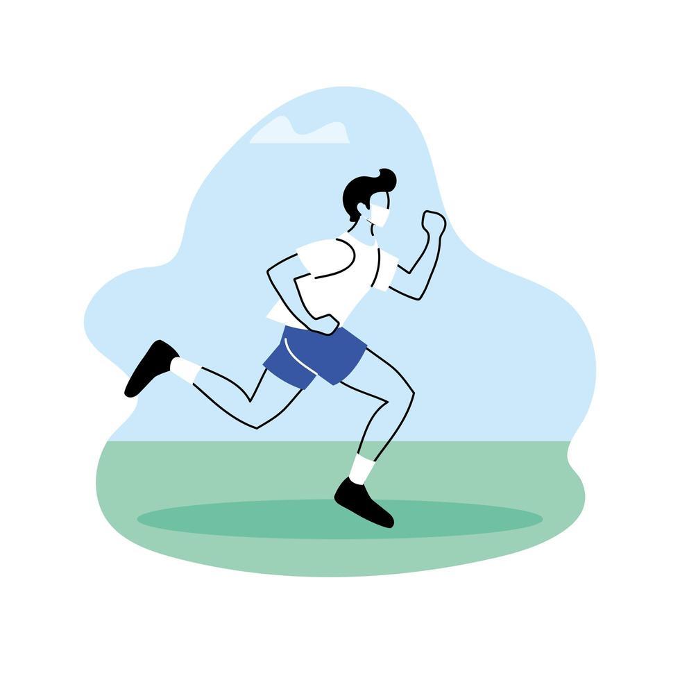 ung man joggar i parken, utomhus träningspass vektor