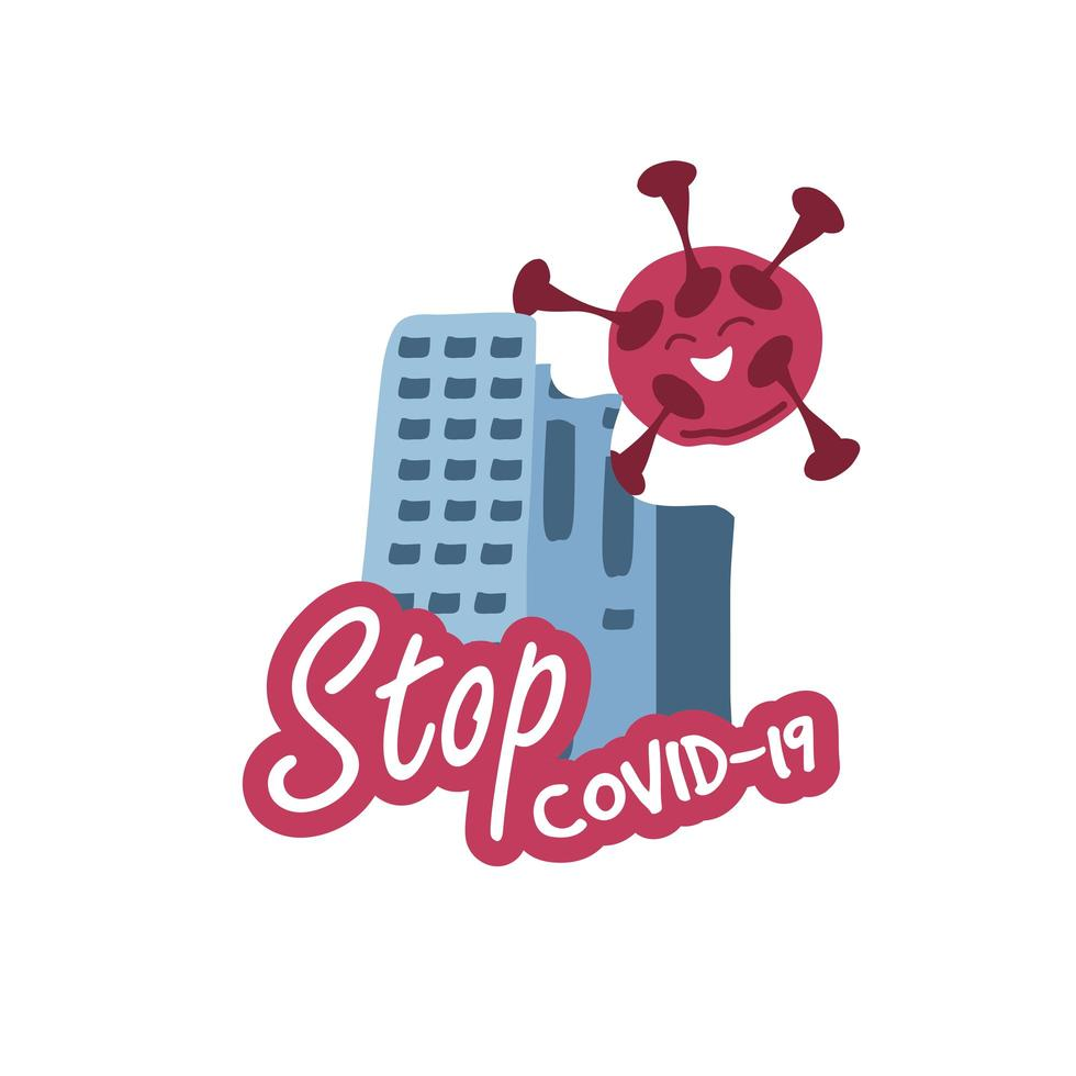 stoppa covid 19, rött virus som flyter över stadens silhuett vektor