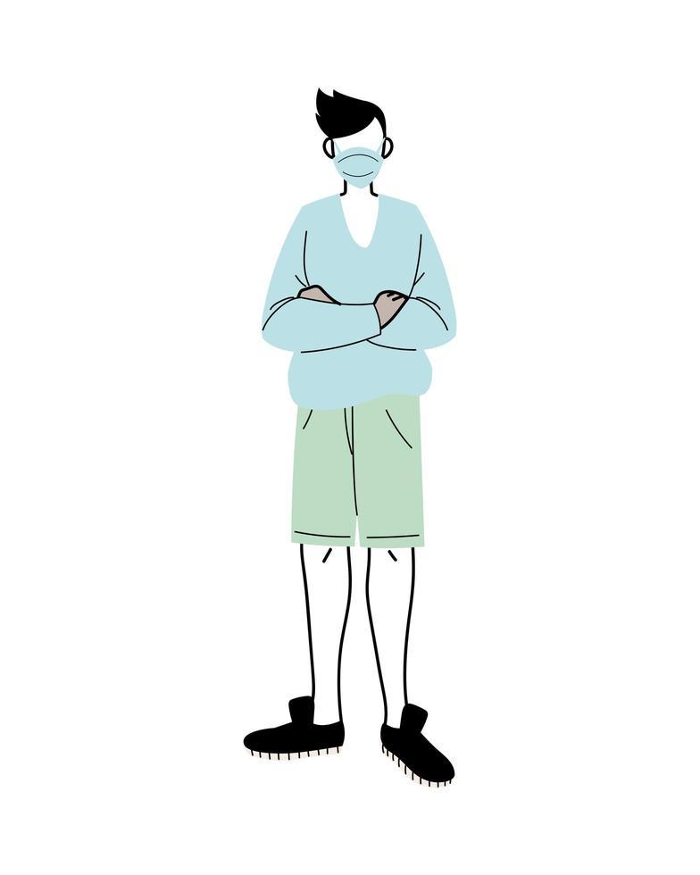 ung man med medicinsk mask som står på vit bakgrund vektor