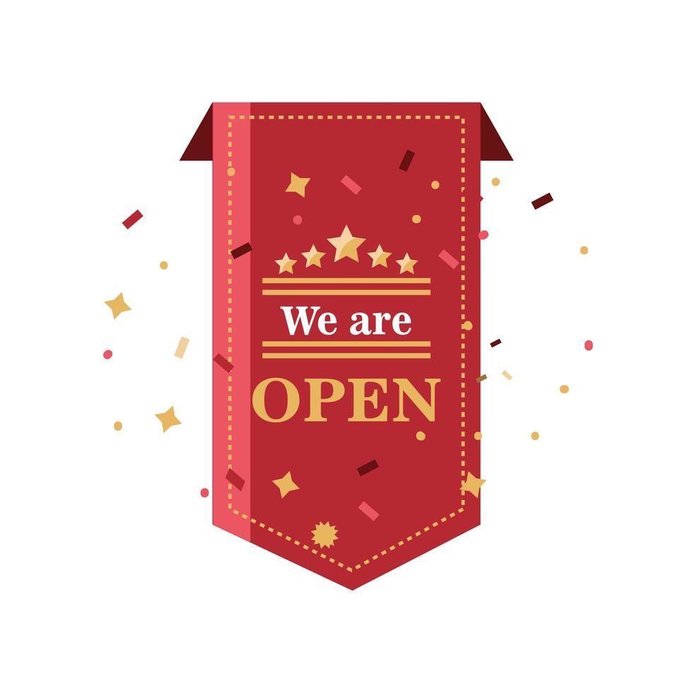 vi är öppna banner och konfetti ikon vektor design