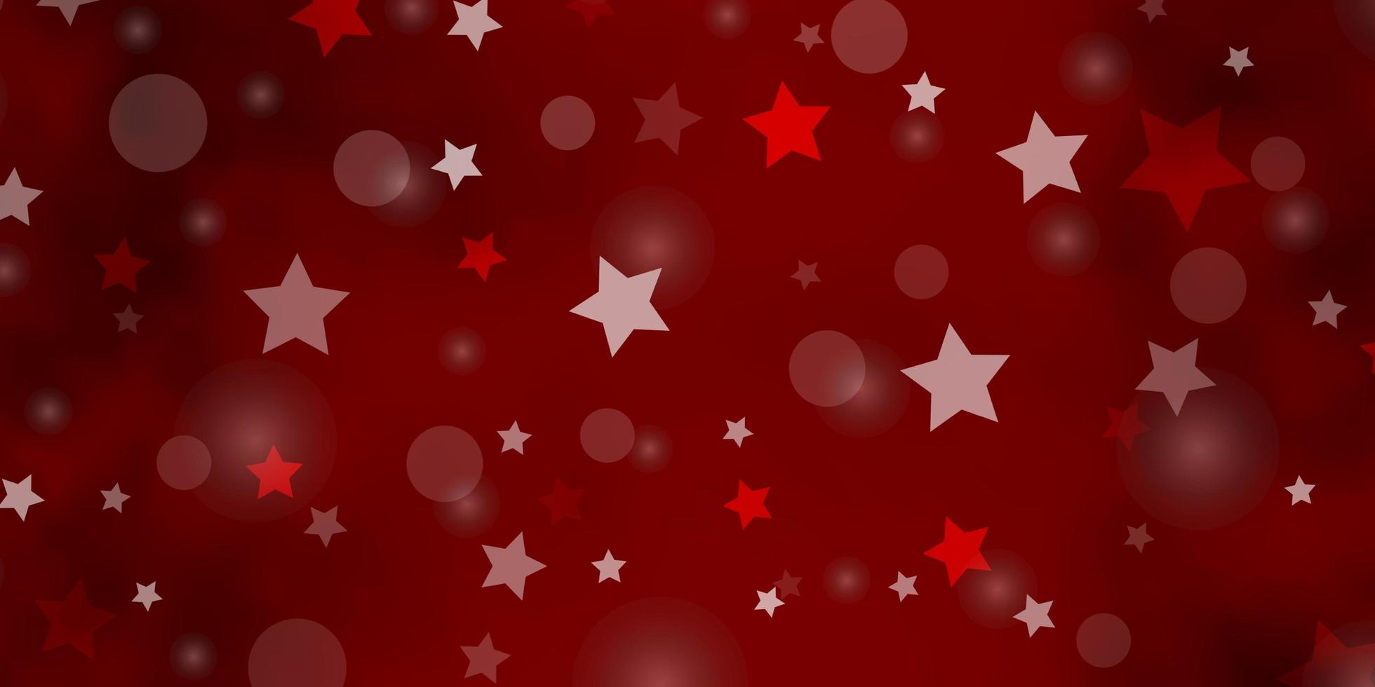 hellroter Vektorhintergrund mit Kreisen, Sternen. vektor
