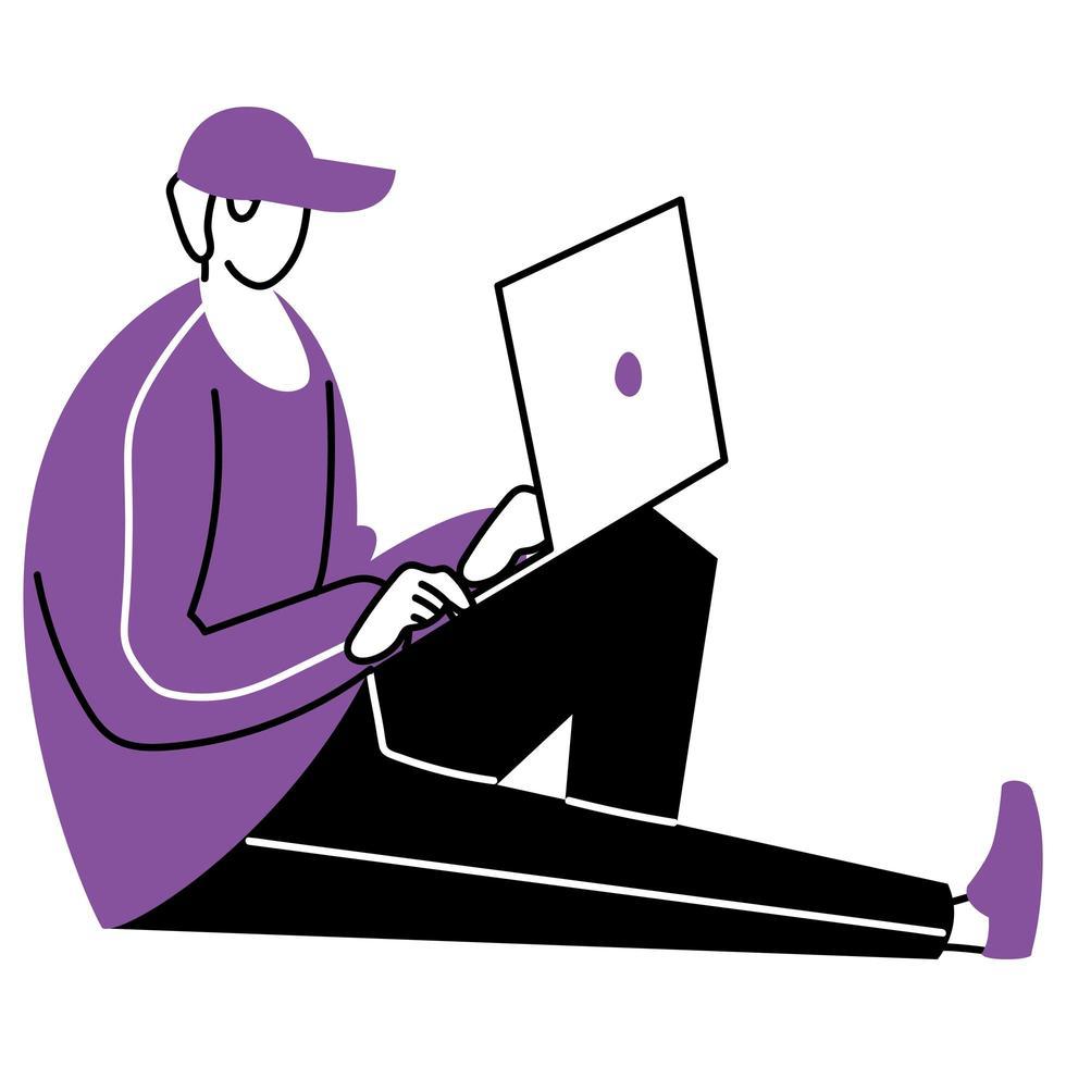 ung man som använder en bärbar dator vektor