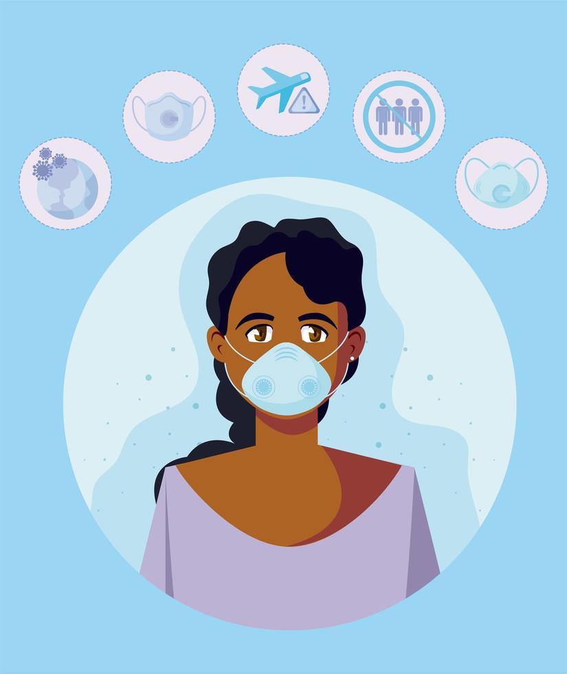 kvinna med medicinsk mask och resesymbolsvektordesign vektor