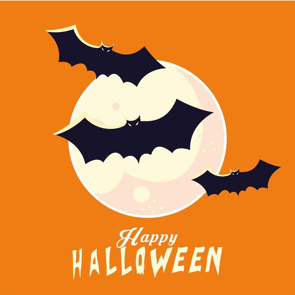 halloween fladdermöss tecknade filmer framför månen vektor design