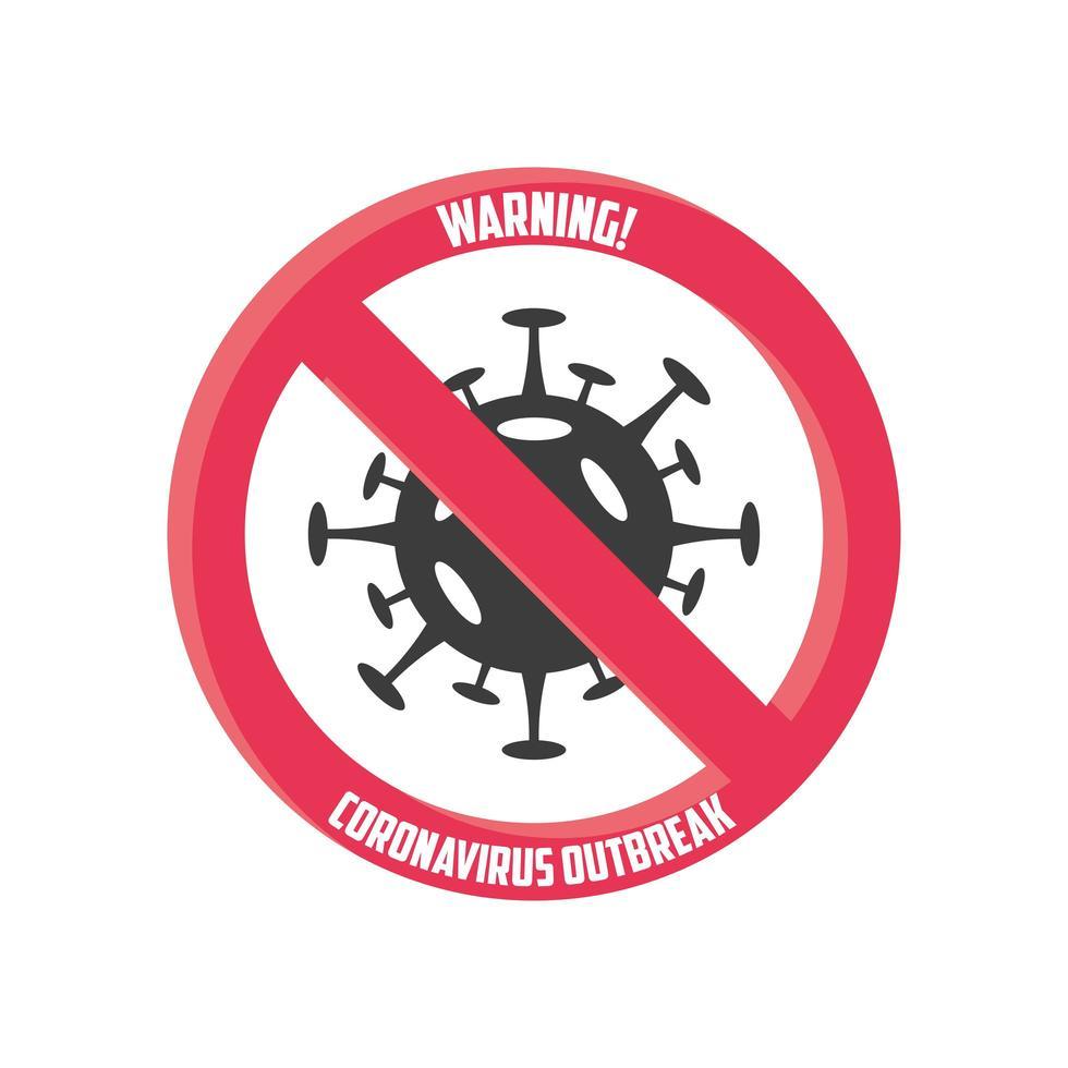 Warnzeichen, Coronavirus-Krankheit oder Covid 19 vektor
