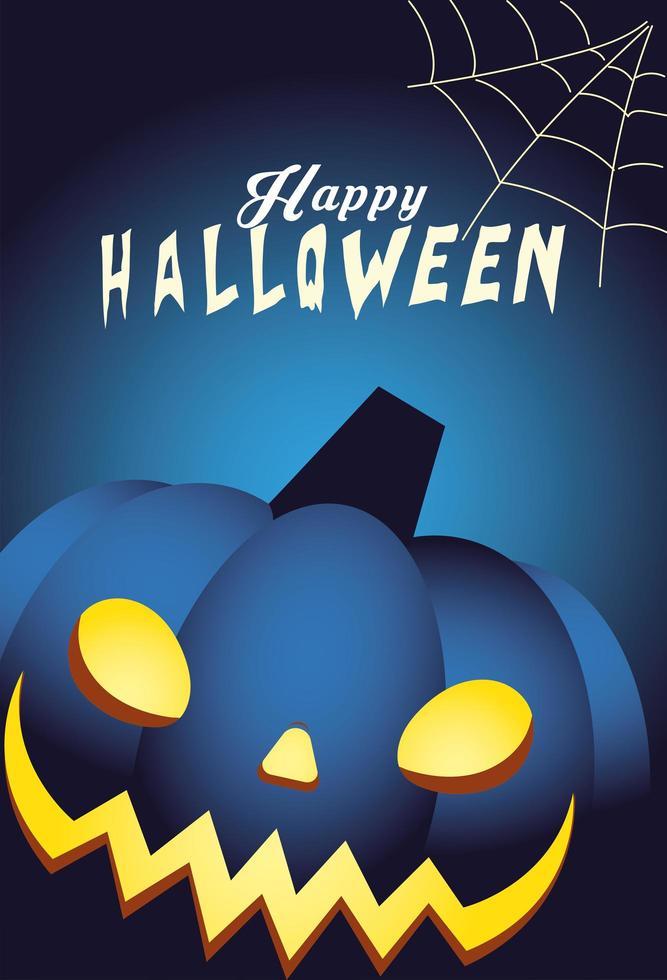 Halloween blå pumpa tecknad vektor design