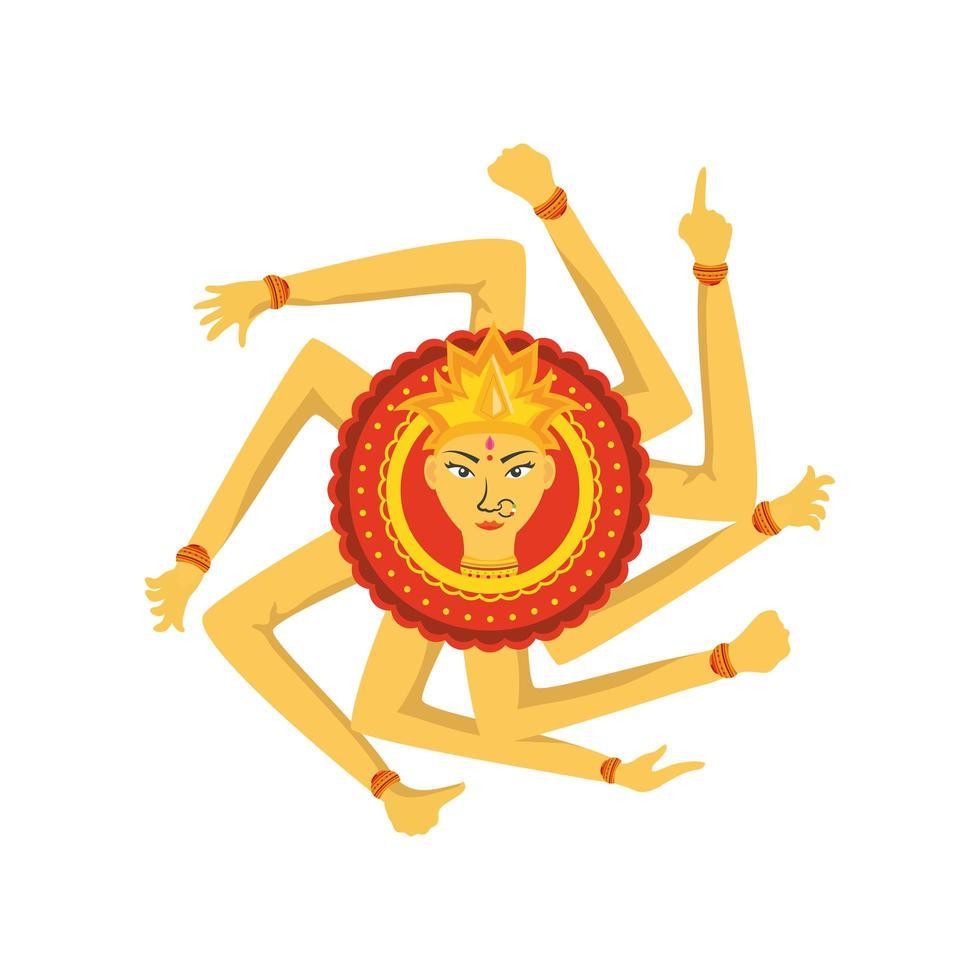 Göttin Durga Maa auf weißem Hintergrund vektor