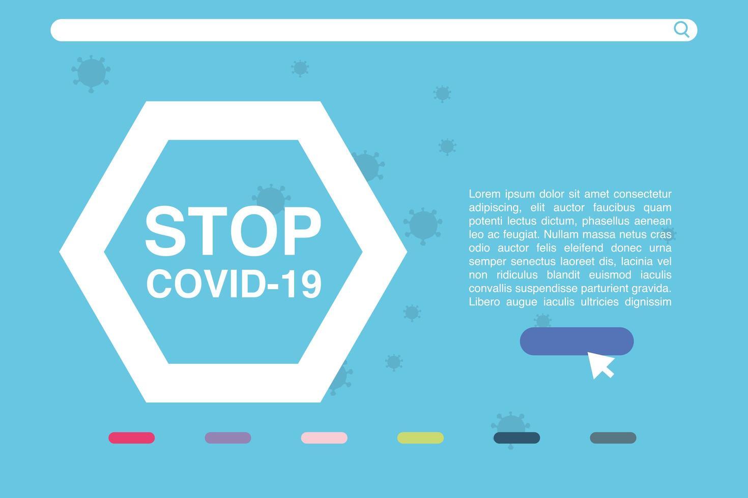 Stop Covid 19, der Kampf gegen das Coronavirus, Pandemie mit gefährlichen Zellen vektor