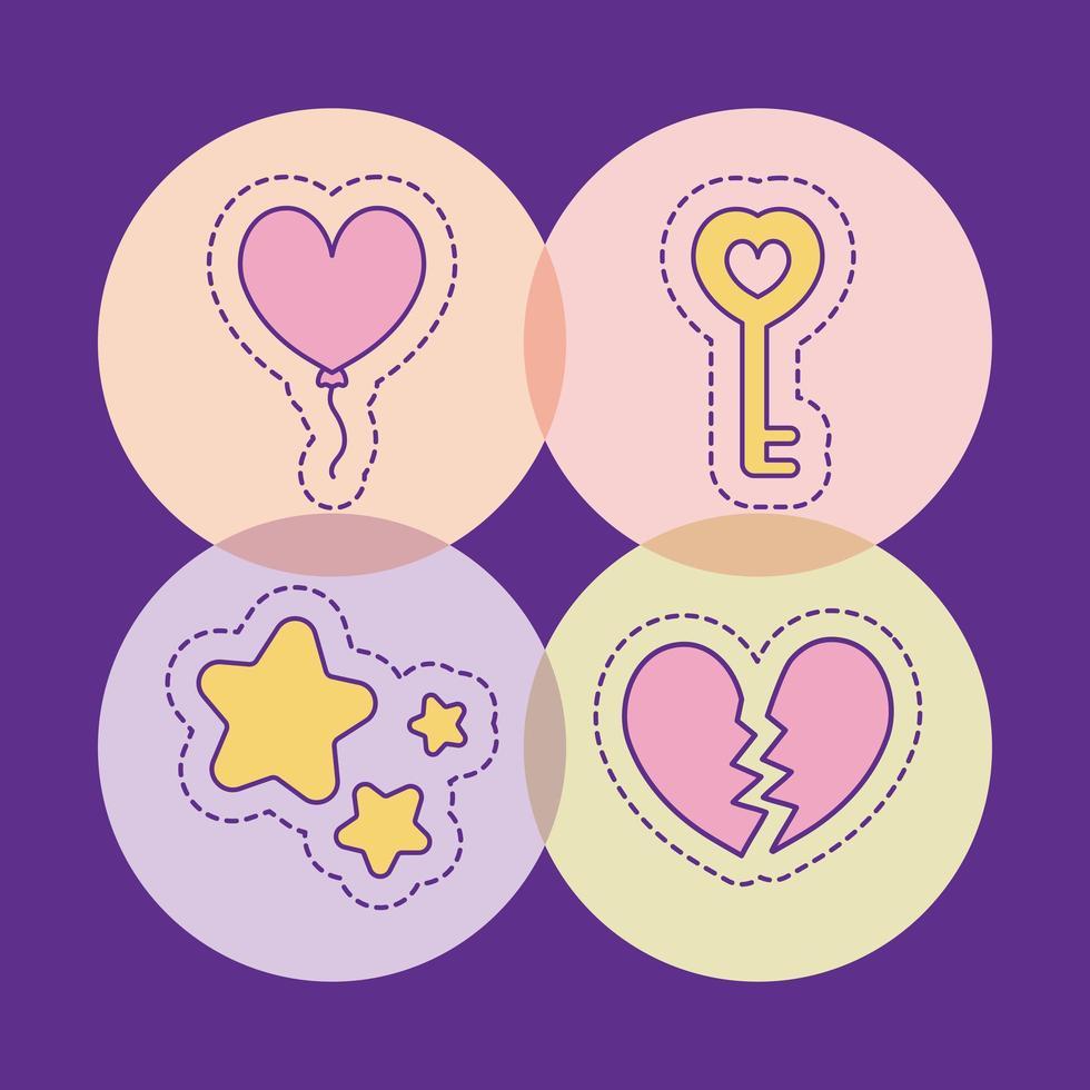 ballong nyckelstjärnor och brustet hjärta vektor design