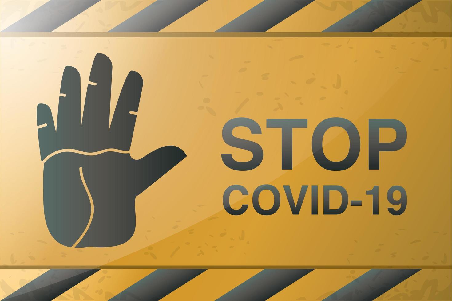 Symbol der Vorsicht, stoppen Sie Covid 19 oder Coronavirus vektor