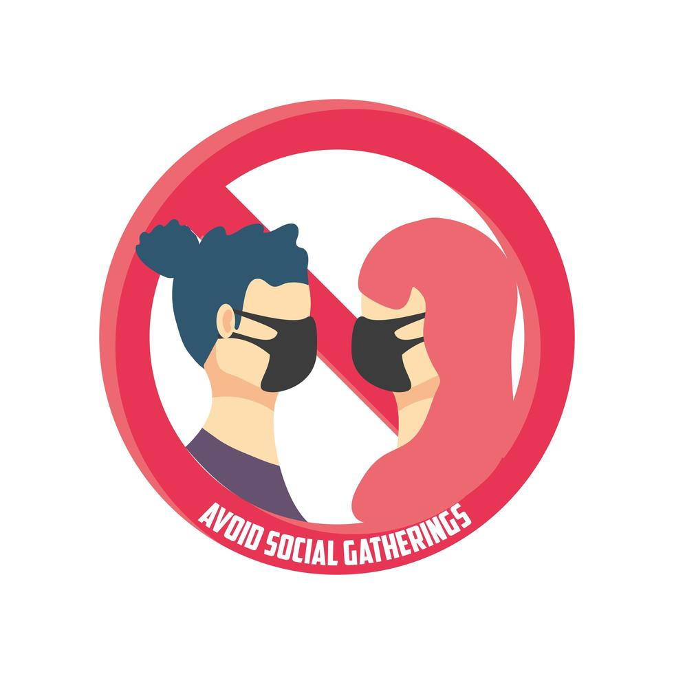 undvik sociala sammankomster, koppla i medicinska masker och undvik folkmassor vektor