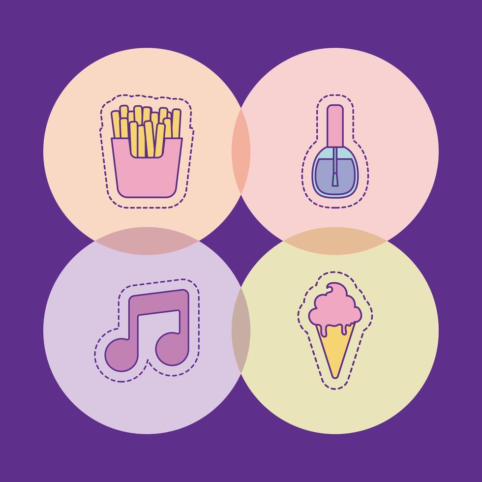 pommes frites musik anteckning nagellack och glass vektor design