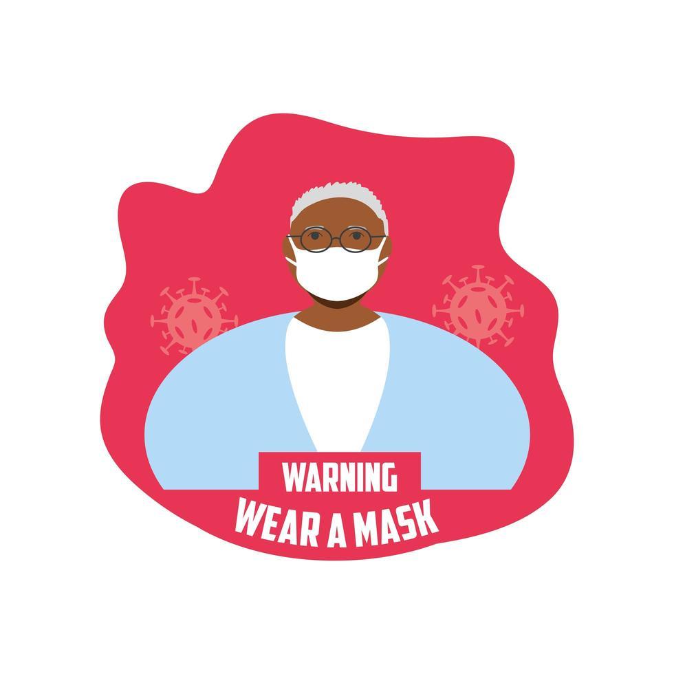 varningstecken, kvinna som bär en medicinsk mask vektor