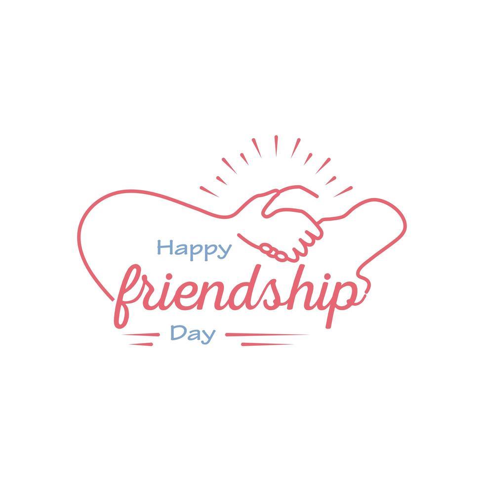 glad vänskapsdag med handskakning detaljerad stilikonvektordesign vektor