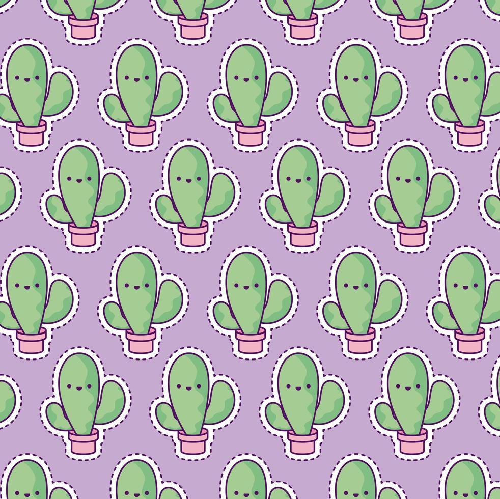 mönster med tropisk kaktus, lappstil vektor