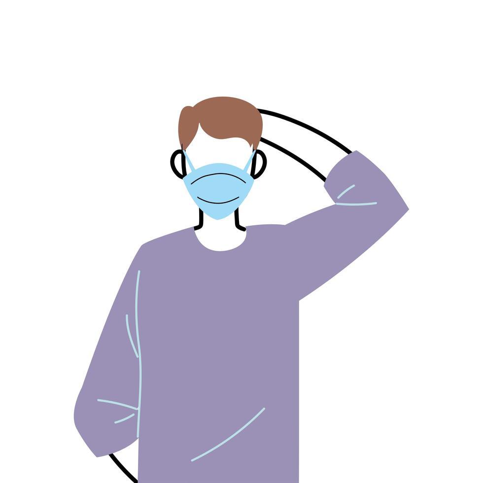 ung man som bär ansiktsmask för att förhindra virus vektor