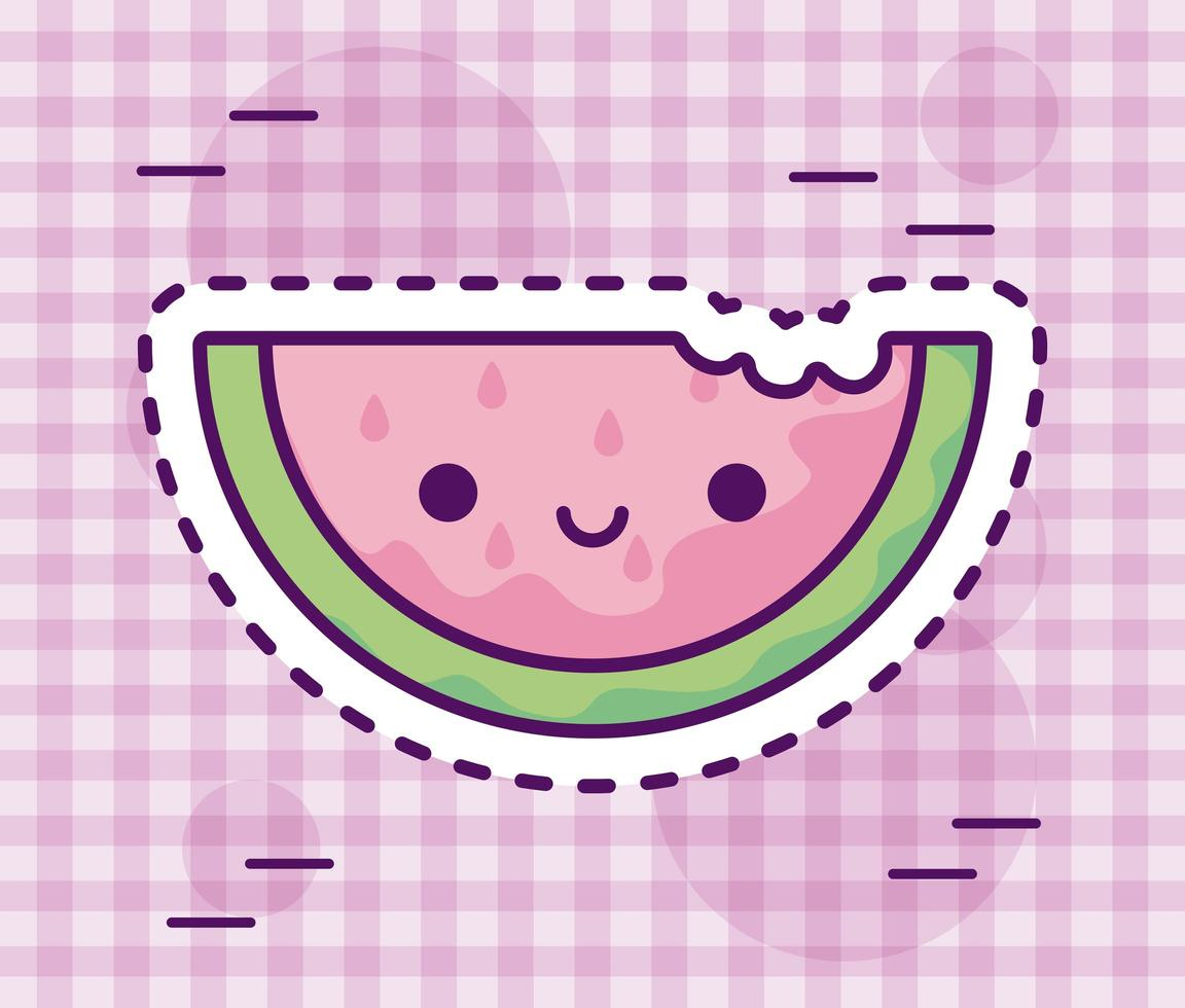 Scheibe frische und leckere Wassermelone nach Kawaii-Art vektor
