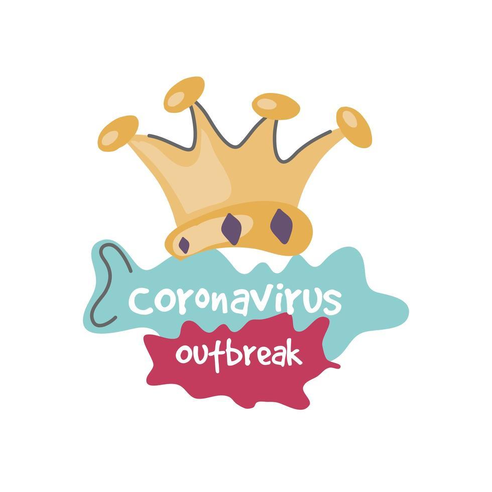 varningsskylt, coronavirus sjukdom med krona vektor