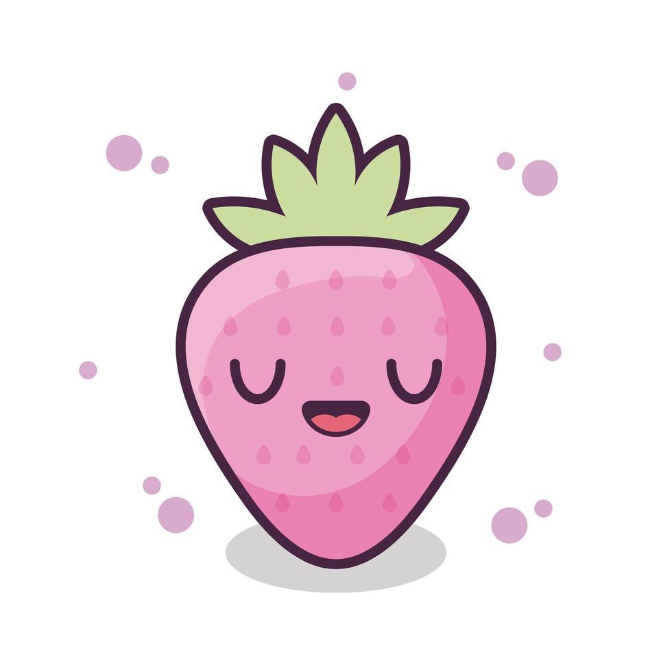 färsk och läcker jordgubbe kawaii stil vektor