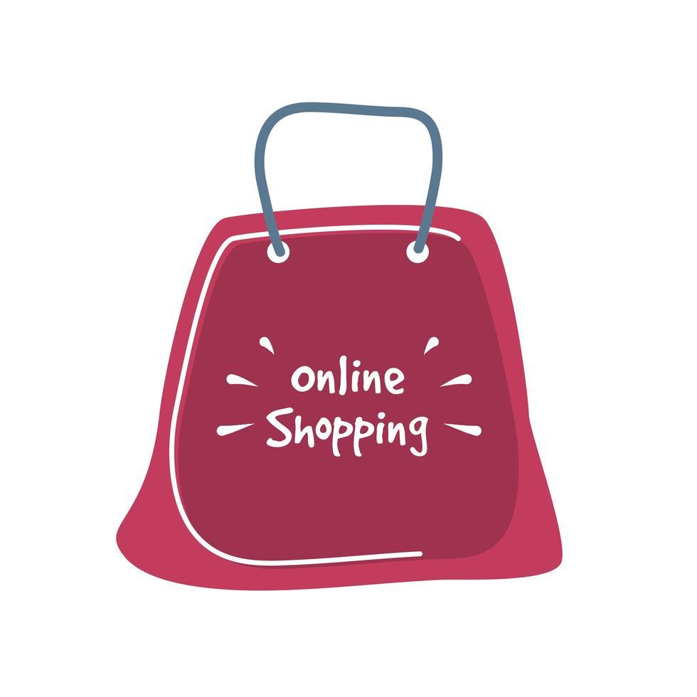 Online-Shopping-Schriftzug auf einer roten Einkaufstasche vektor