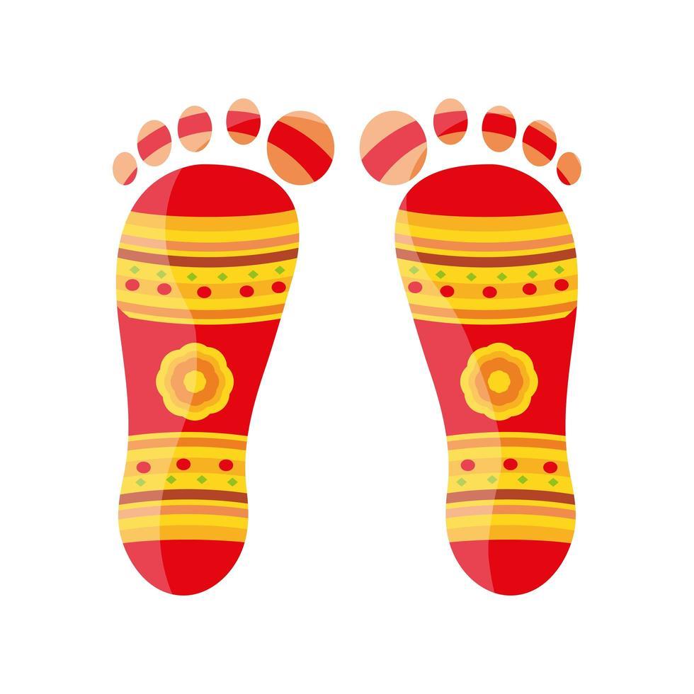 Fußabdruck shubh navratri auf weißem Hintergrund vektor