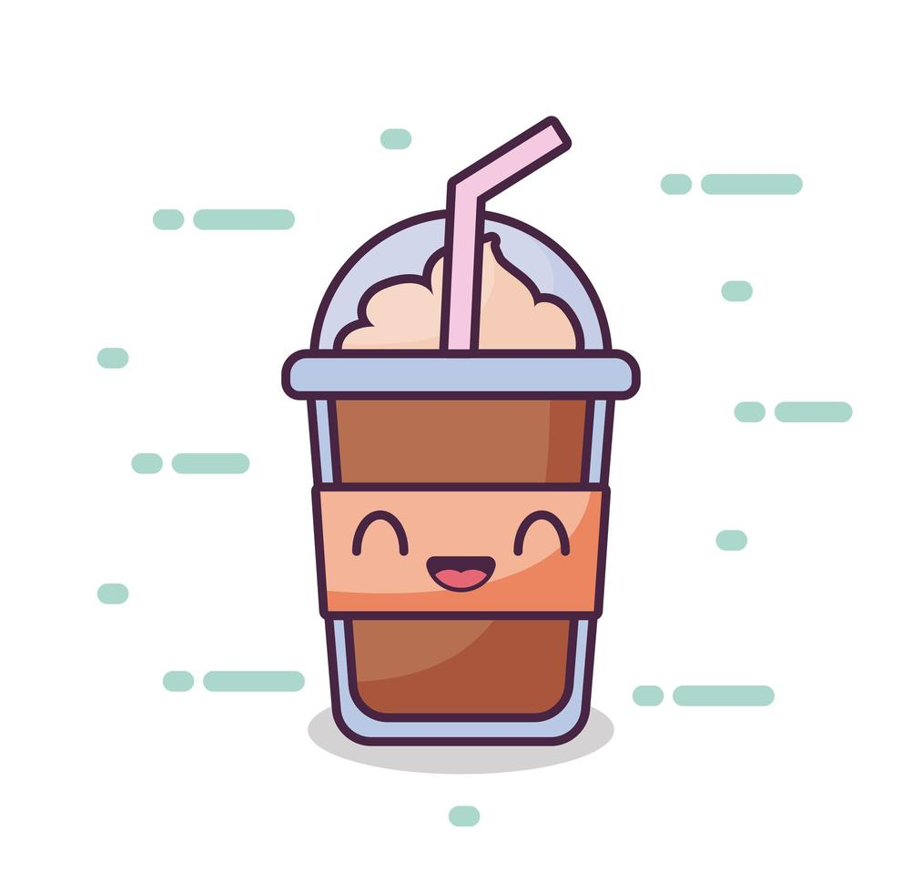 Einwegbecher für Getränke im Kawaii-Stil vektor