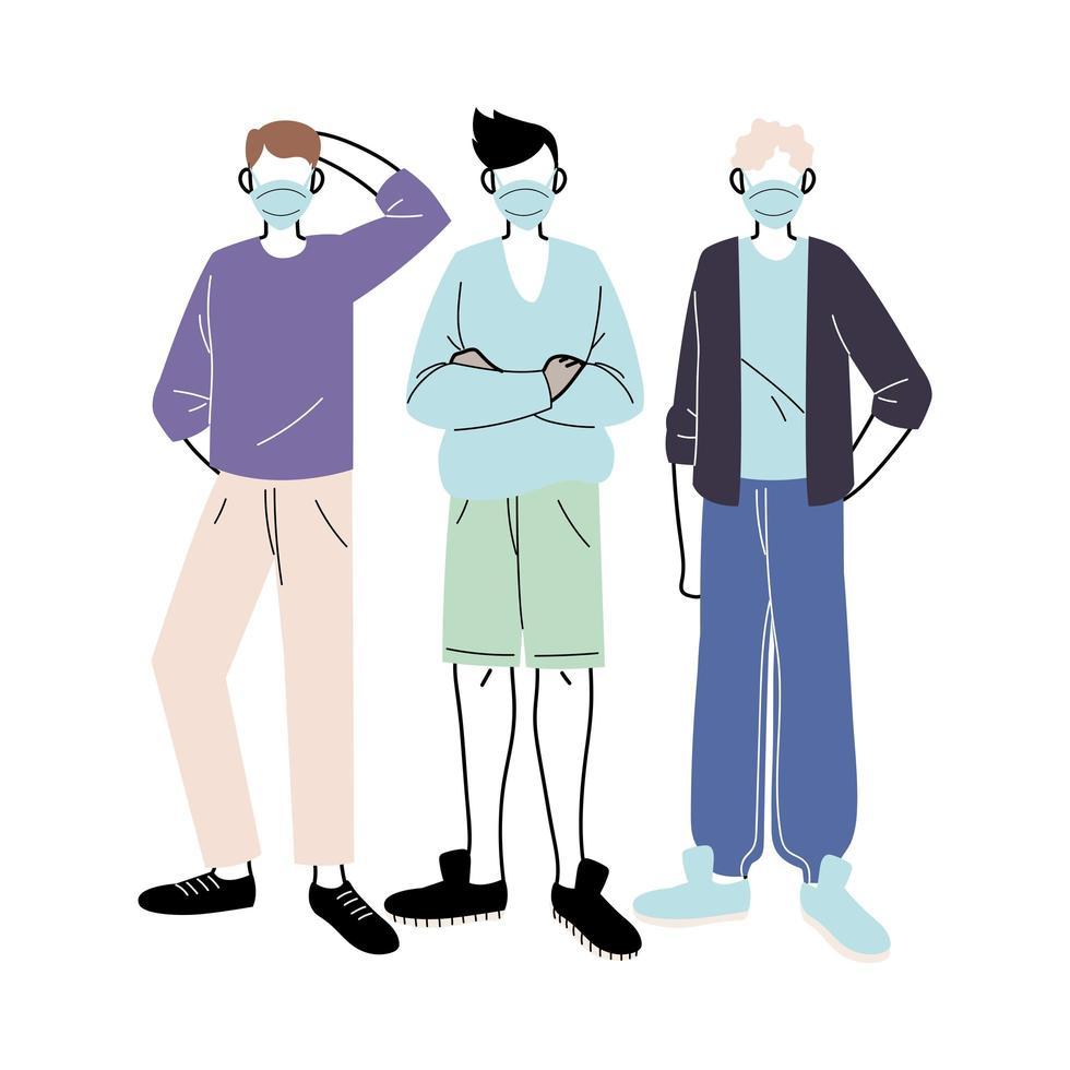junge Männer mit medizinischen Masken, die auf weißem Hintergrund stehen vektor