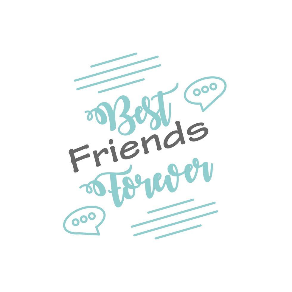 bästa vänner för alltid med bubblor detaljerad stilikon vektor design