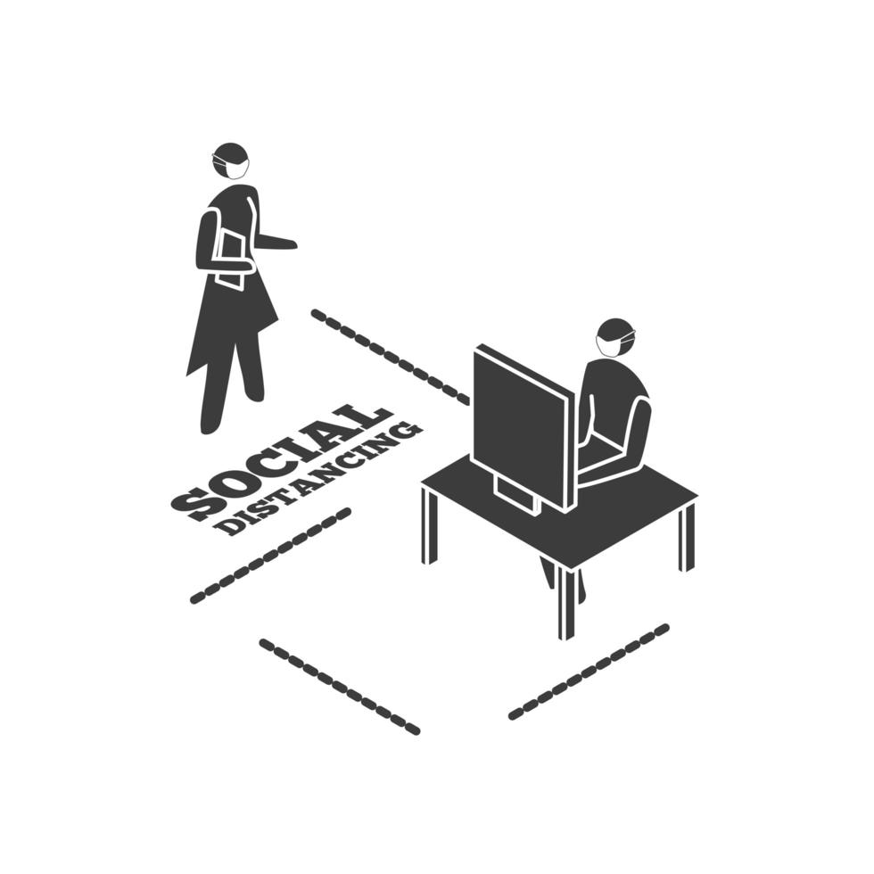 människor som arbetar på dator, social distansering vektor