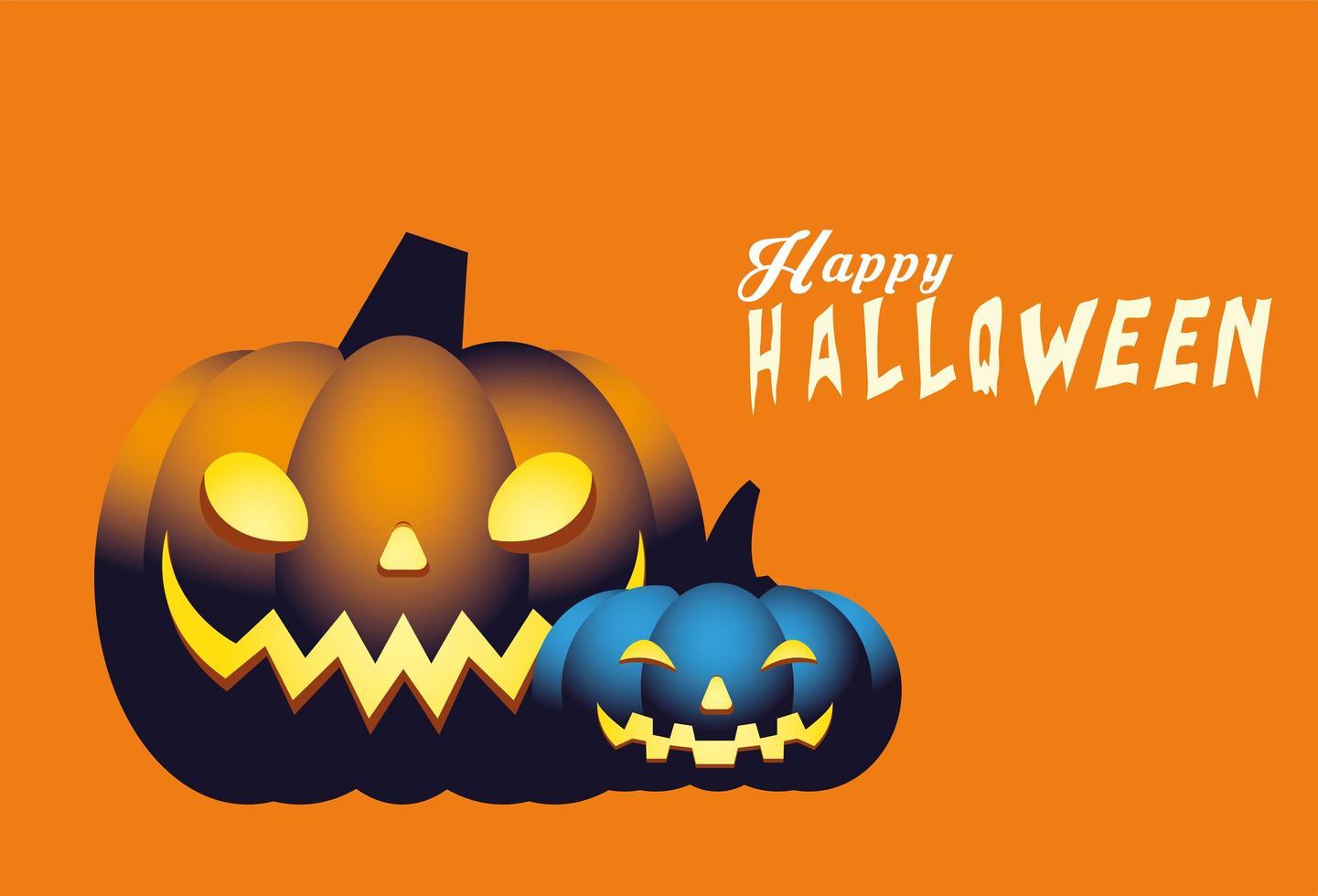 Halloween blau und orange Kürbisse Cartoons Vektor-Design vektor
