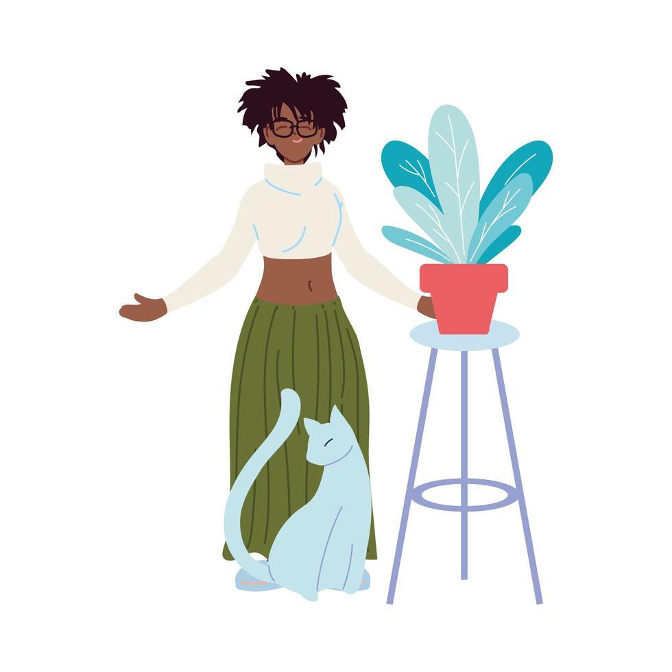 Karikatur der schwarzen Frau mit Katzen- und Pflanzenvektorentwurf vektor